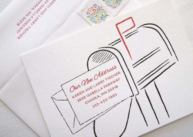 Letterpress Mailbox Moving Announcements