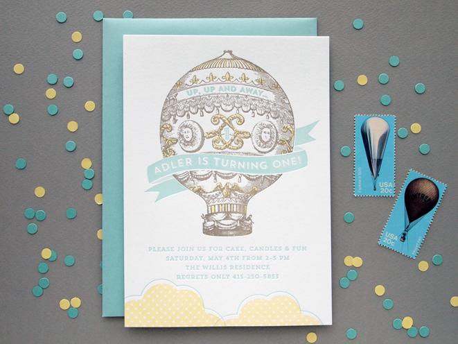 Letterpress First Birthday Invitation The Quill – Letterpress Party Invitations