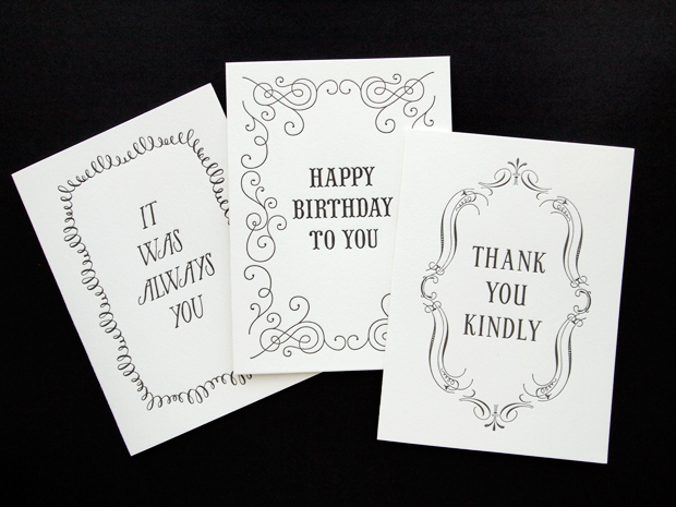 Black White Card Collection The Quill Missive Letterpress