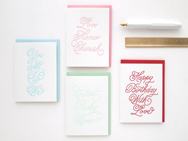 Cursive Letterpress Cards