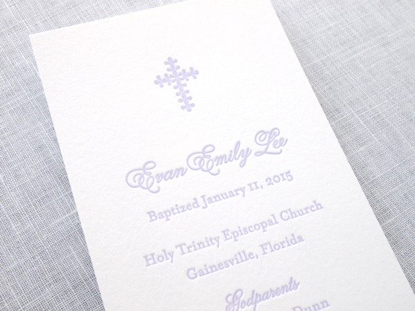 Letterpress Baptism Bookmark