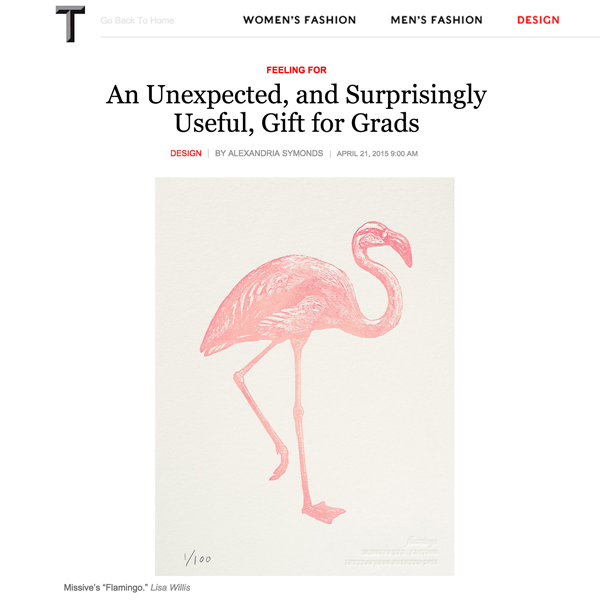 Missive Flamingo letterpress print in T Magazine