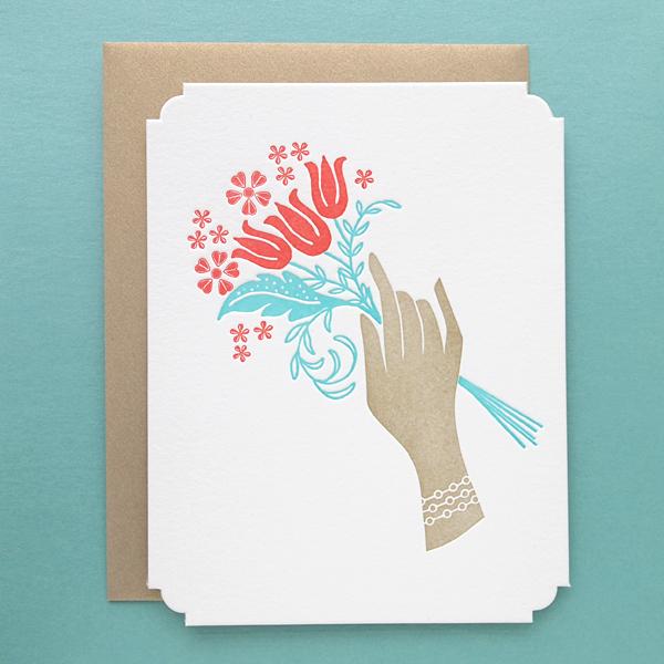 Deluxe Letterpress Bouquet of Flowers Card