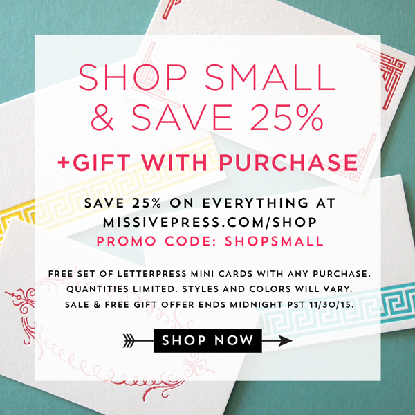 Shop Small Letterpress Sale