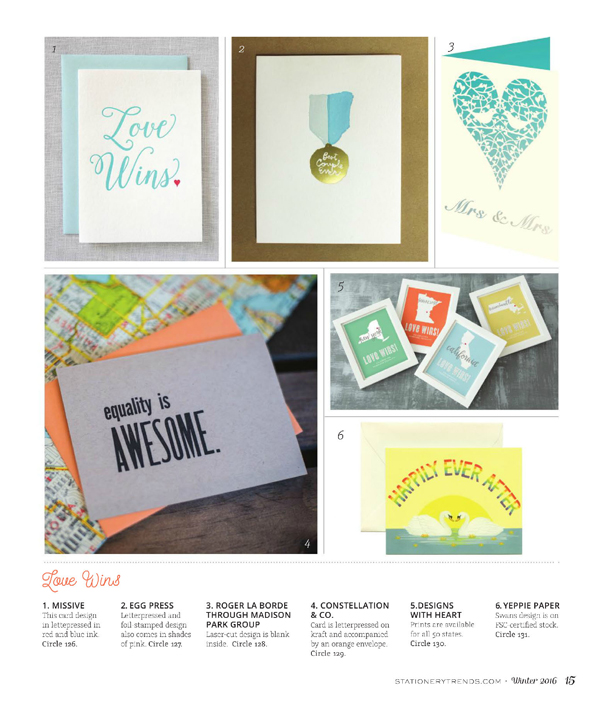 Love Wins letterpress card by Missive - Stationery Trends Magazine