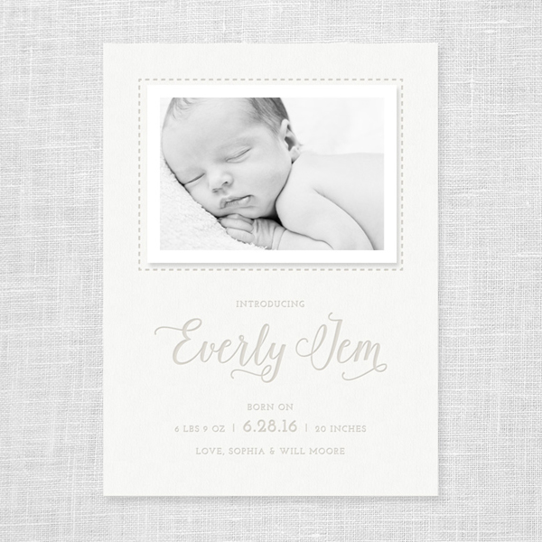 Shop Update: Letterpress Baby Announcements
