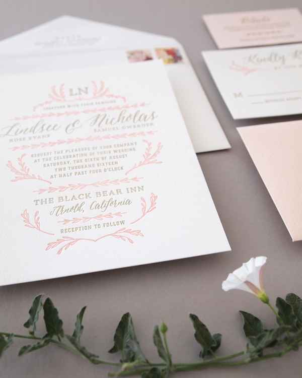Pink and Gold letterpress wedding suite