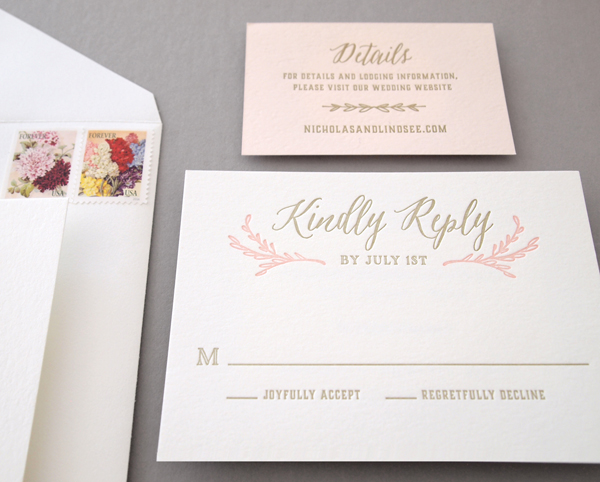 Blush and Gold letterpress reply and details cards