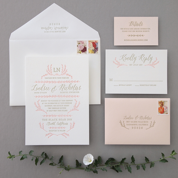 Blush & Gold Letterpress Wedding Invitations