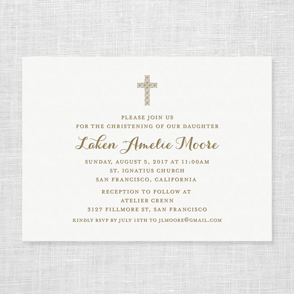 Letterpress Christening Invitation
