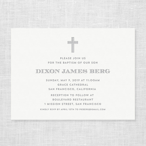 Letterpress Baptism Invitation
