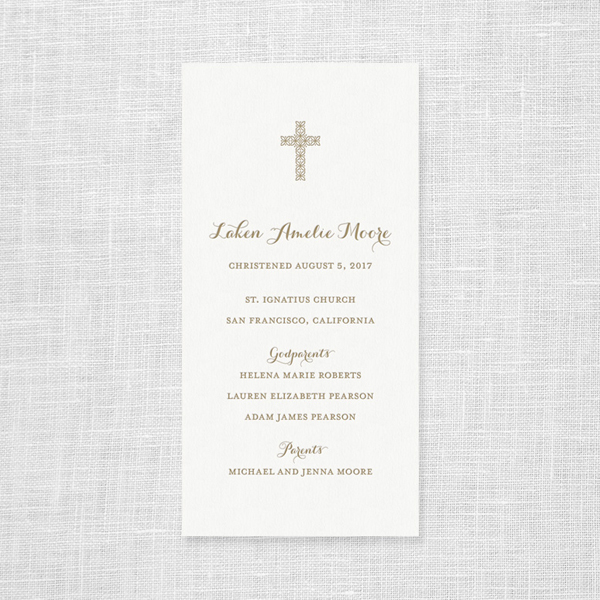 Custom Letterpress Christening Bookmark Style Card