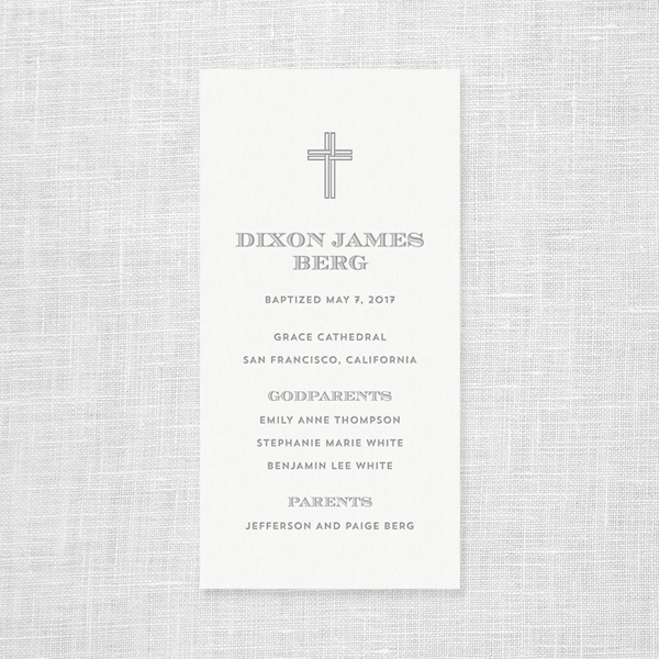 Custom Letterpress Baptism Invitations