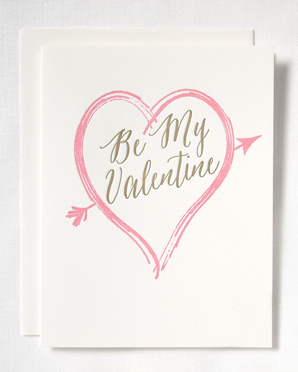 Be My Valentine letterpress card