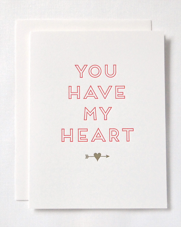 You Have My Heart letterpress card