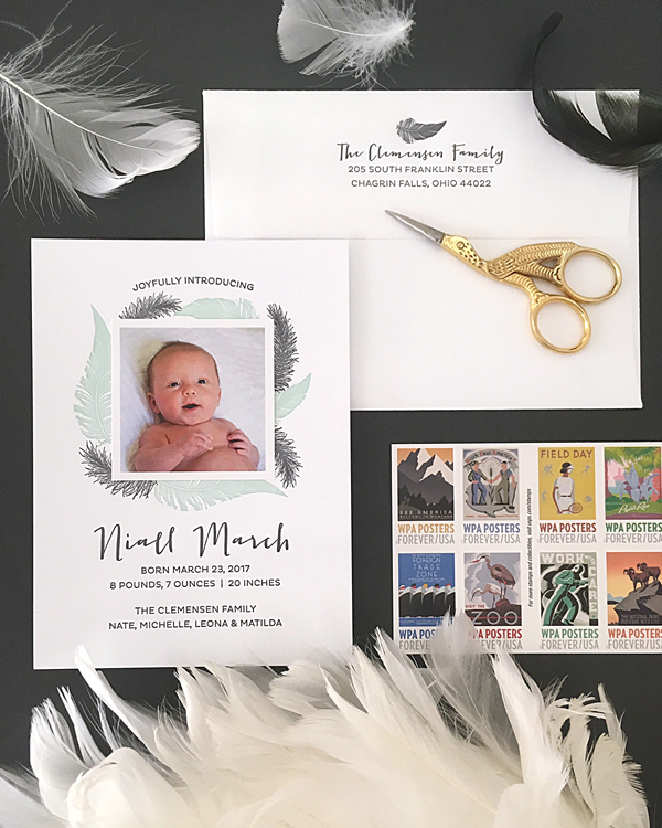 Custom letterpress feather birth announcement