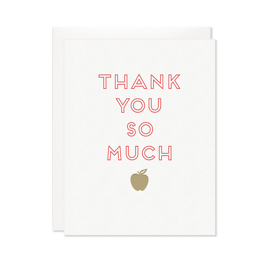 Teacher Thank You Card Letterpress Greeting Cards Paper Goods And