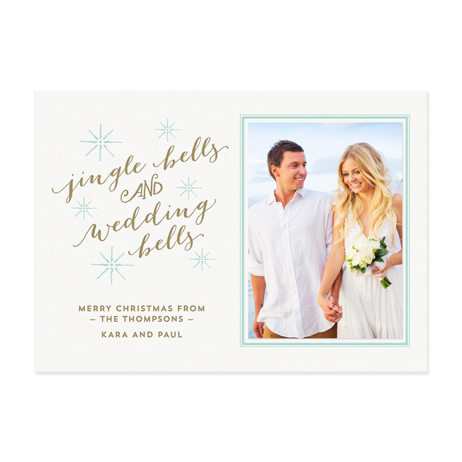 Wedding Bells Holiday Photo Card Letterpress Greeting Cards Paper