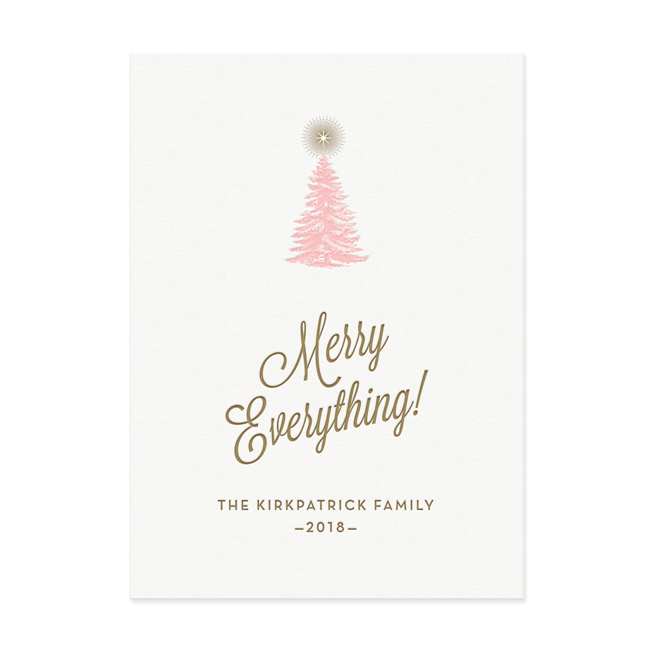 Fir Tree Holiday Card Letterpress Greeting Cards Paper Goods And